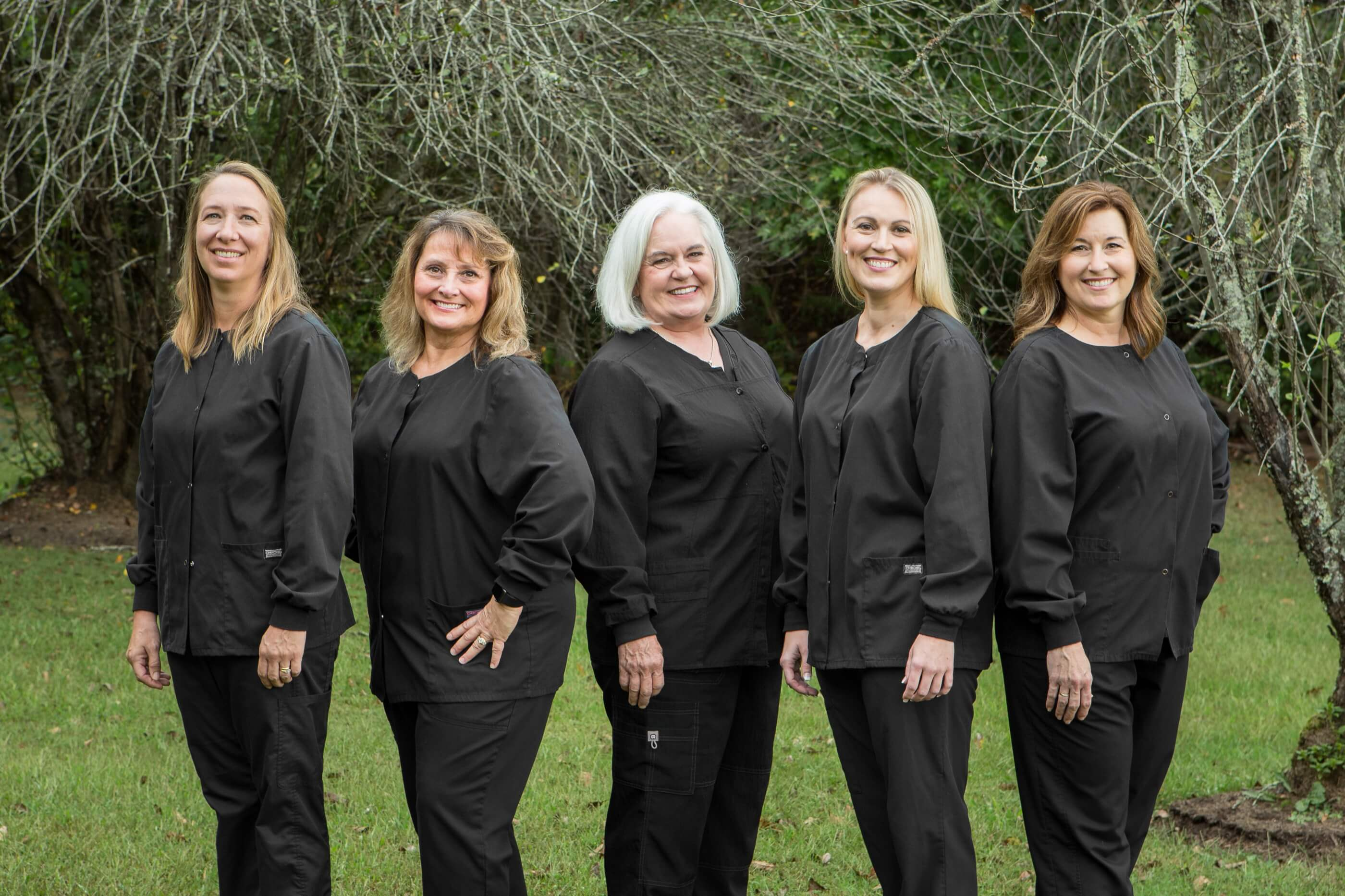 The Hygienist Team of Baldwell and Guffey Family Dentistry Standing Together